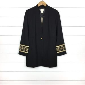 NWT Chico's Cuff Detail Jacket Black Gold